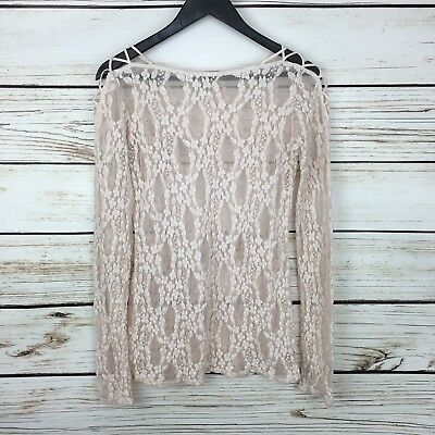 FREE PEOPLE intimates L Lace Dress Long Sleeve Blush Pink Dress