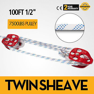 Twin Sheave Block and Tackle 7500Lb Pulley System Climbing 1/2 Double Braid Rope