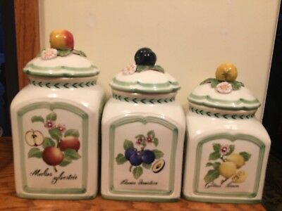 Villeroy & Boch French Garden Charm Country Set Of 3 Canisiters