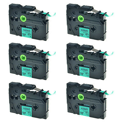 6PK TZ-721 Black on Green Label Tape Laminated 9mm TZe-721 For Brother P-Touch