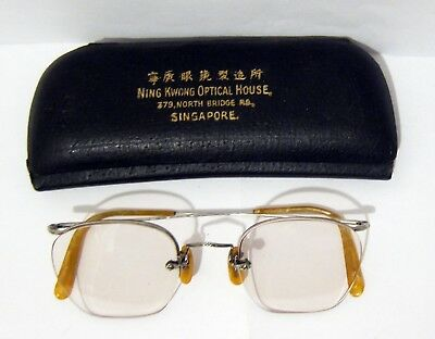 Antique Eyeglasses Half Frame - B & L 12K Gf - Original Singapore Case