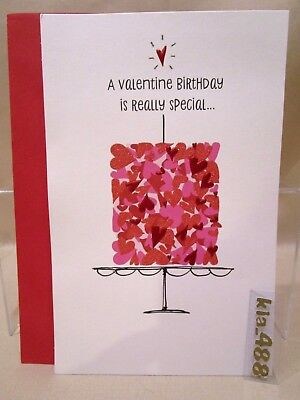 VALENTINE'S DAY BIRTHDAY CARD from  American Greetings - glitter cake-hearts NEW