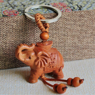 Yuanbao Elephant Lucky Key Ring Key Chain Natural Peach Wood Gift Decor Supply Z