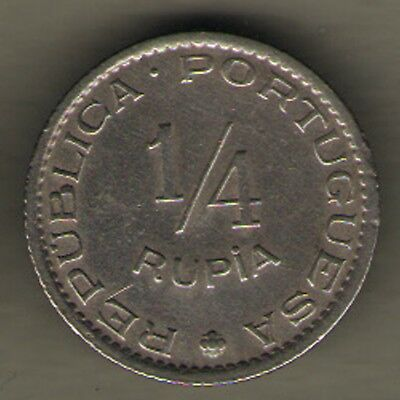 Portugese India Goa - 1952 - 1/4 Rupee - Rare Coin