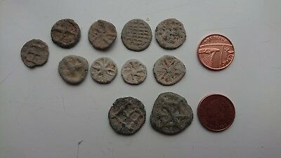 Beautiful collection of Medieval era lead tokens - metal detecting found UK.