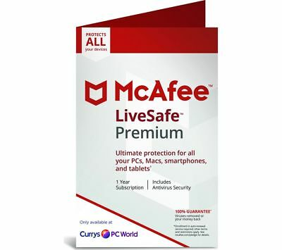McAfee Livesafe Premium 2019 1 year Unlimited Devices (Windows/Mac/iOS/Android).