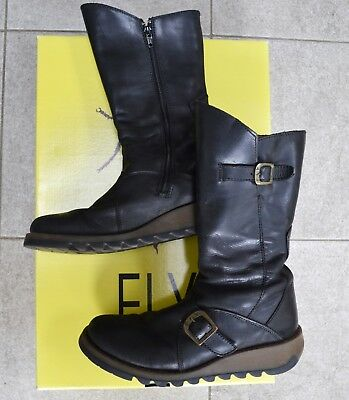 316b2f2d56e FLY LONDON MES 2 Womens Mid Calf Wedge Zip Up Leather Boots Size UK ...