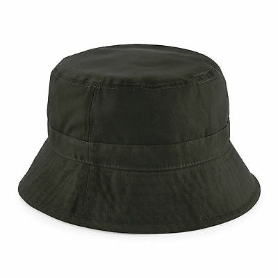 Mens or Womens Olive Green Waxed Cotton Canvas Low Profile Bucket Hat
