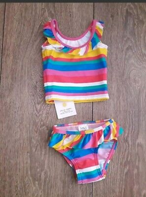 Baby Girls M&s Tankini Swimsuit Age 0-3 Months New