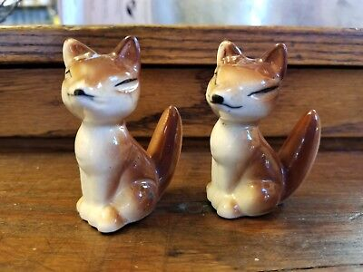 Fox Couple Figurines Fox Pair Ceramic 2 Brown Glazed