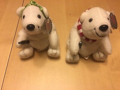 """Coca-Cola """"Kissing Bears"""" Soft Plush Bears, Holiday, Set Of 2, New With Tags"""