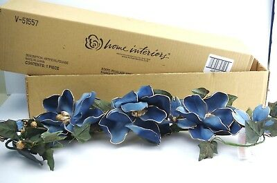"Blue with Gold Magnolia Swag Greenery 33"" long Vintage Home Interiors   # 40200"