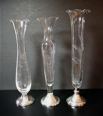 Towle, Duchin, Web Sterling Silver & Etched Glass Bud Vases Set of Three