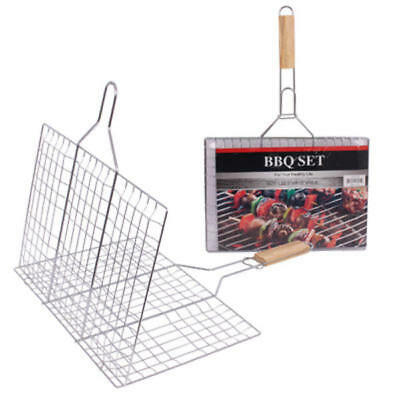 """Iron Grill Basket with Wooden Handle - 15""""L - CASE OF 24"""
