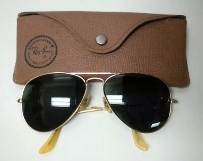 Vintage B&L Ray Ban Aviator Sunglasses in Case with Green Lenses
