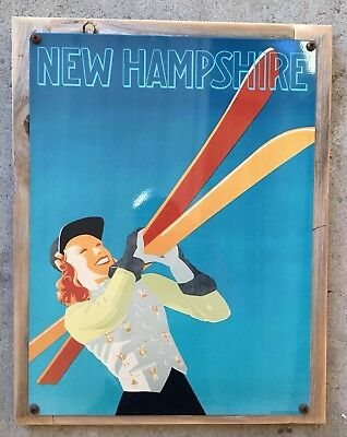 New Hampshire England Ski Skiing White Mountains Vintage Poster Frame Steel Sign