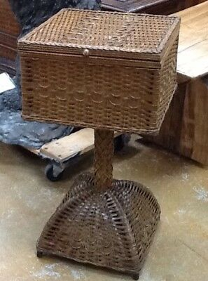 Vintage Heywood Wakefield Wicker Sewing Stand Basket Early 20th Century Rare