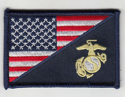 """50 Pcs MARINE CORPS LOGO/USA flag Embroidered Patches 3""""x2"""""""