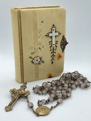 Vtg Antique 1918 Celluloid Mother of Pearl Flower CATHOLIC PRAYER BOOK + ROSARY