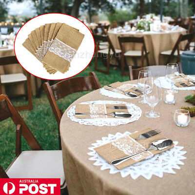 NEW Hessian Burlap Cutlery Holder Lace Rustic Wedding Party Table Decorations AU