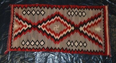 Vintage Navajo Hand Woven Rug with a Swastika in the Center 42 by 21 Inches