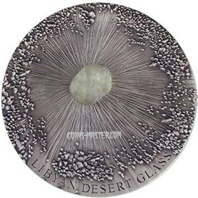 2017 5 Oz Silver 5000 Francs LIBYAN DESERT GLASS Meteorite Art Coin Chad.