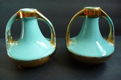 """Vintage """" Made in Hollywood 55 for Langheim"""" Vases/Candle Gold/Aqua 4 1/4"""" tall"""
