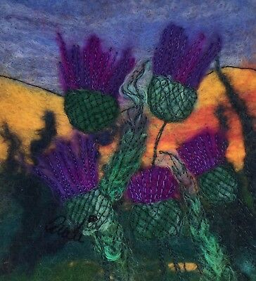 Original Felt Painting By Audrey James Thistle's On The Embankment