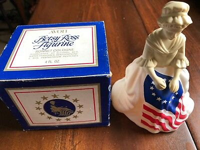 Avon Sonnet Cologne Patriotic Betsy Ross Figurine 4 oz NEW IN BOX