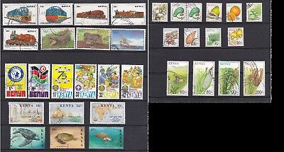 Kenya 1997-2001 USED stamp collection (inc Locomotives set, Crops, Scouts, etc)