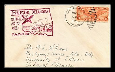 Dr Jim Stamps Us Cover Mcalester Oklahoma National Air Mail Week 1938