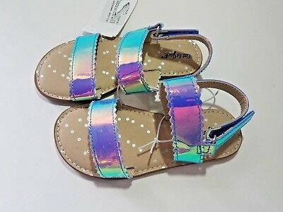 Toddler Girls Calypso Shiny Metallic Silver Footbed Sandals - Cat & Jack - NWT