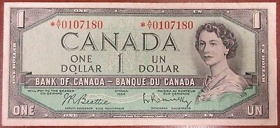 Bank Of Canada 1954 $1 Replacement Banknote Signed Beattie/raminsky