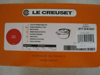 New In Box Le Creuset Cerise Cherry Red 5.5 Quart Round Dutch Oven With Lid