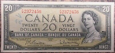 Bank Of Canada 1954 $20 Banknote Signed Beattie/raminsky