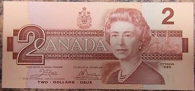 Bank Of Canada 1986 $2 Banknote Signed Crow/bouey