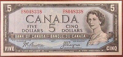 Bank Of Canada 1954 $5 Banknote Signed Beattie/coyne