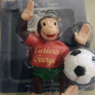 VINTAGE Curious George HOLIDAY Soccer  CHRISTMAS  Ornament Carlton Cards. In Box