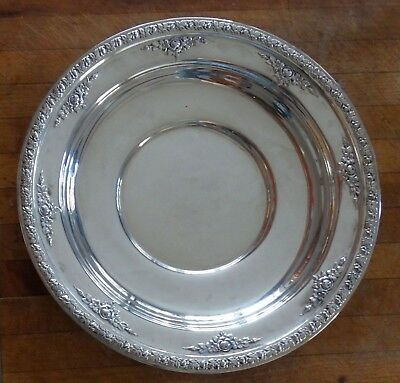 Antique Wallace Sterling Silver Tray Ornate Rose Design Rolled Rim 173.7 g. 5974