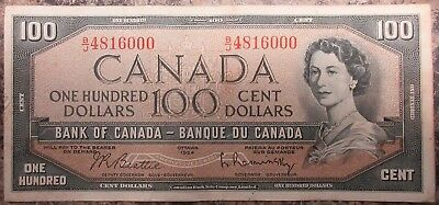 Bank Of Canada 1954 $100 Banknote Signed Beattie/raminsky
