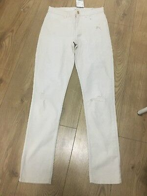 New H&M Girls Cream Ripped Jeans Skinny Fit Trousers Pants 13-14Years