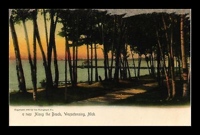 Dr Jim Stamps Us Along The Beach Wequetonsing Michigan View Postcard