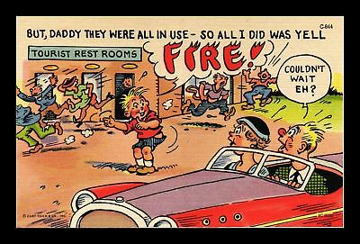 Dr Jim Stamps Us Comic Tourist Rest Room Boy Yells Fire Linen Topical Postcard