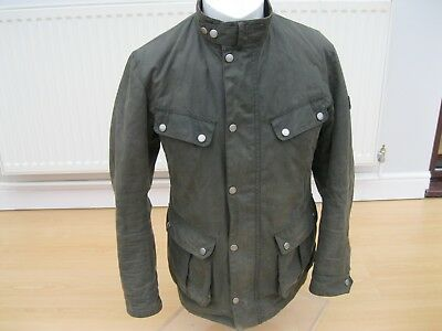 Mens Barbour International Olive Green Wax Cotton Jacket Small Fantastic Coat