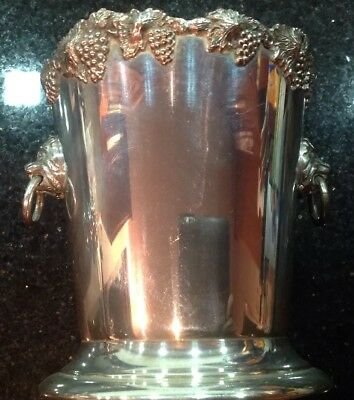 Vintage Reproduction Silver Plated Ice Bucket With Lion Head Handles