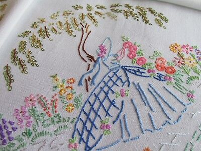Vintage Hand Embroidered Tablecloth-PRETTY CRINOLINE LADIES & FLORAL'S