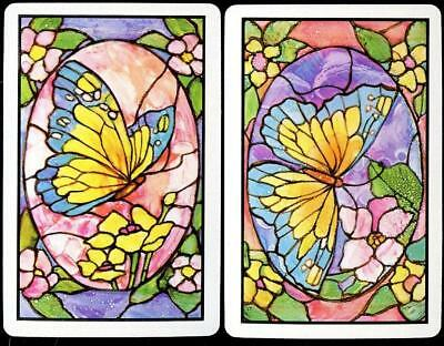 Butterfly Swap Card Pair Stain Glass Look (Brand New)