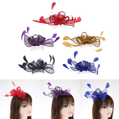 Wedding Feather Fascinator Hair Comb Mesh Hat Floral Bridal Headpieces Derby