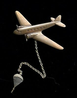 Vintage Brass ? Airplane Chained Parachute Pins Brooch M002