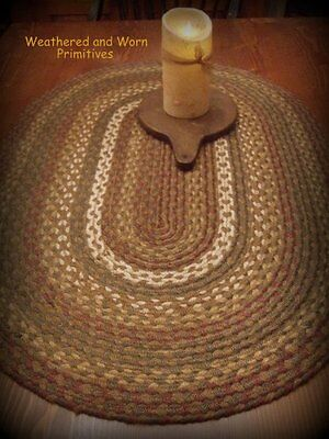 """Primitive Country Braided Oval Jute Throw Rug - Rust, Green Tan 24"""" x 36"""""""